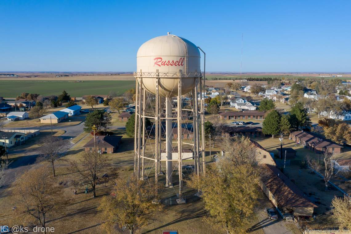 Russell, KS north water tower